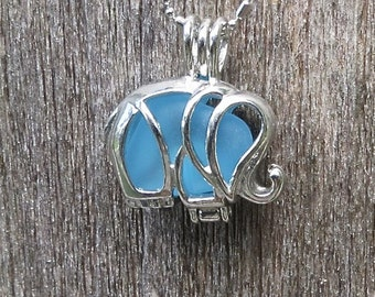 Caribbean Blue Sea Glass Elephant Locket Necklace by WaveofLife