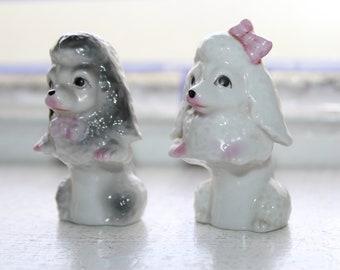 Vintage Dogs Salt and Pepper Shakers Poodles 1960s Kitsch