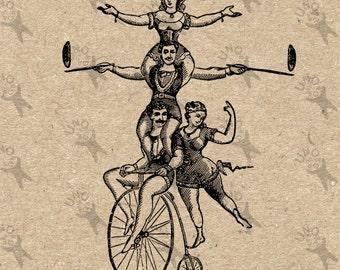 Circus Acrobat Trick Bicycle Vintage Image Instant Download Antique Car Digital printable graphic for kraft pillows tote tea towels  300dpi