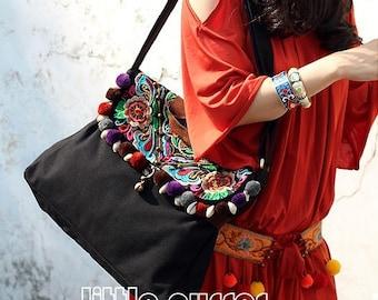 Embroidered bag/messenger bag/bags and purses /shoulder bag/canvas bag/neutral bag/leisure handbag /Zipper Cover Bag/ Cross Body Style