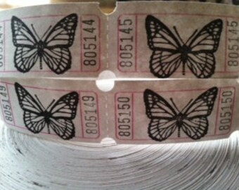 Vintage Style Hand Stamped Monarch Butterfly Carnival Tickets