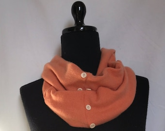 Soft Pumpkin  Infinity Cashmere Scarf made from an Upcycled Sweater