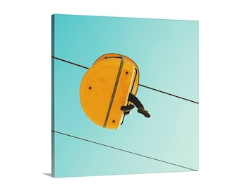 huge canvas art // abstract aqua blue yellow canvas // minimalist art photography - Yellow, large art on canvas