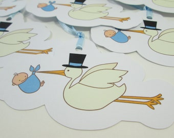 Blue Stork Gift Tags