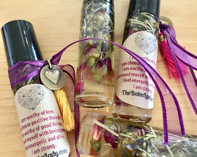 Self Love Oil - Crystal infused, herb infused flower infused oil growing love of self Love Yourself Confidence, self-love, positive image