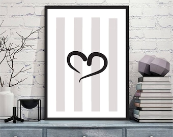 Printable art Digital Prints Wall art home decor Heart love printable art, printable prints