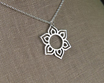 Round lotus flower pendant necklace in sterling silver, lotus petal, flower necklace, sterling silver lotus, mother's day