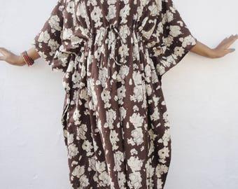 Beach Dress Tiki Dress Tropical Dress Brown Floral Dress Hawaiian Dress Summer Dress Sun Dress Cotton Plus Size Dress Party Dress