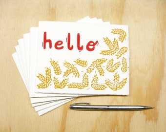 Greeting Cards - Hello Wheat - Set of 6 - Block Printed Cards - Just Because Cards