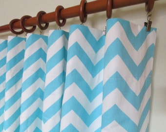"Pair of 50 "" wide baby blue and white chevron curtain panels drapes curtains zig zag 50x63"" 50x84"" 50x96"" or 50x108"" - can add grommets"