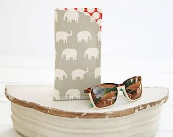 Eyeglass Case | Glasses Case | Grey Elephant Monogram Cases for Oversized glasses | Fabric Eyeglass Holder | Gray Eyeglasses Case in Fabric