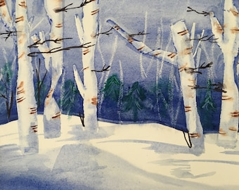 Blue Birch captures the undulating snow drifts as well as the grace and beauty of this original winter landscape by The Praying Painter