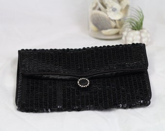 Black Sequined Norell Clutch