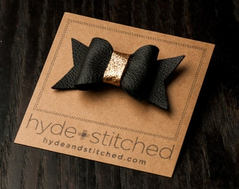 """Black and Gold Glitter Bow, One 2.5"""" Handcrafted Leather Bow, Hair Accessory"""