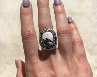 White buffalo sterling silver ring size 7 3/4