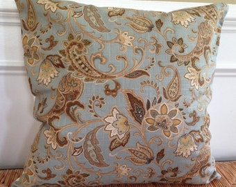 Blue Pillow Cover 16 x 20|22 x 22|24 x 24 inch Pillow Cover Blue Brown Floral Pillow Cover Blue Tan Floral Pillow Cover Blue Floral Pillow
