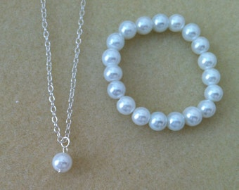 Flowergirl pearl pendant necklace and pearl bracelet gift set -  weddings, flowergirl jewelry