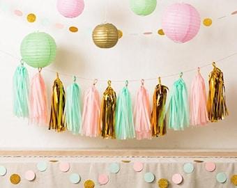 Pink Mint and Gold Party Decor, Tissue Paper Tassels + paper Garland + Paper lantern for Kids Birthday Bridal Shower Baby Shower wedding