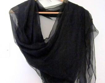Black silk chiffon scarf