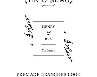 Premade Vintage Inspired Business Logo Hand Drawn Branches Personalized with your information and color Branding Design Bespoke Stationery