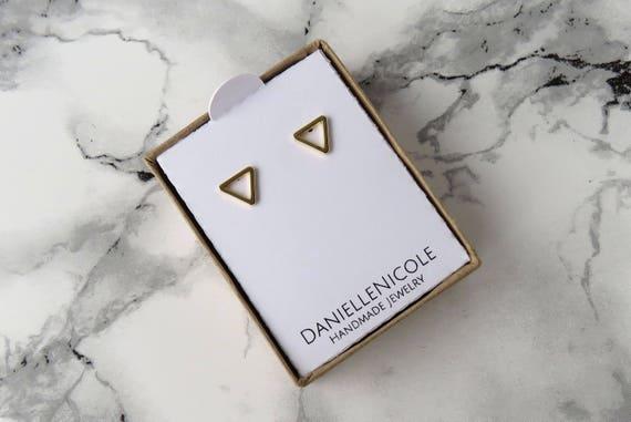 Dainty Triangle Earrings, Dainty Earrings, Triangle Stud Earrings, Dainty Jewelry, Minimalist Earrings, Minimalist Jewelry, Boho Jewelry