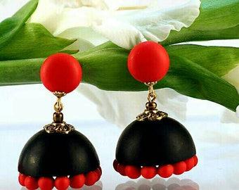 black red earrings (jhumki)