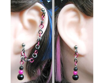 Cartilage to Lobe Chain Earrings, Punk Jewelry - Double Pierced or Ear Cuff Pair in Hot Pink And Black