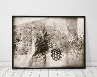 Vintage Art Print Sepia Wall Art Sepia Print Sepia Photography Prints Vintage Pinapple Decor Pineapple Print Sepia Art Prints