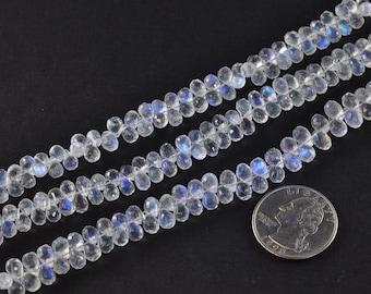 "68CT Rainbow Moonstone Faceted Teardrop Briolette Bead 8""  Strand"