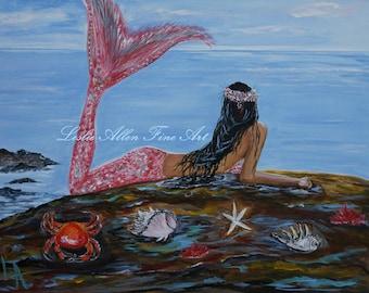 "Mermaid Mermaids Girl Woman Ocean Seascape Fantasy Art Print Wall Art Children Room Decor  ""Mystic Mermaid"" Leslie Allen Fine Art"