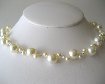 Double Strand Swarovski Pearl and Crystal Necklace...Golden Shadow and Cream...Free Earrings