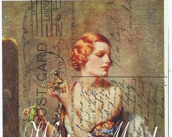 Quilt, Art Fabric Block*Girl at vanity with perfume bottle*Green stamp postcard collage*original design*Variety of sizes*