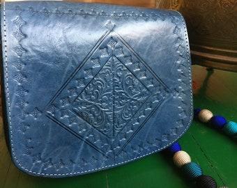 Blue Denim Leather Bag, Moroccan Leather Bag, Handtooled Leather Bag, Cross Body Leather Bag, Blue Leather Shoulder Bag Handbag
