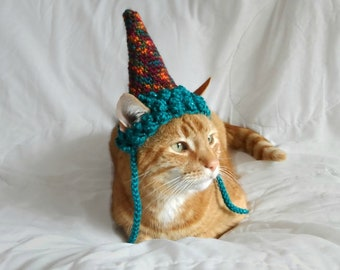 Party Hat for Cats, Crochet Hat for Cats, Cat Clothes, Cat Hat, Cat Birthday Hat, Colourful Pet Hat. Gift for Cat Lover, Gift for Pet Cat