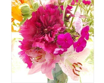 Magenta Hollyhock Photograph, Neon Floral Art Print, Flower Wall Decor, Nursery Decor, Flower Art