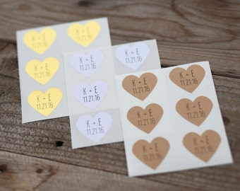 48 Custom Initial and Date Stickers - Stickers for Wedding Favors, Envelope Seals, Wedding Invitations