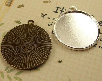 Wholesale 40 Pendant trays 25mm Round Bezel Setting Alloy Antique Bronze/ Antique Silver/ Silver Mountings, 120g - HA1229