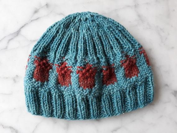 Child's knit beanie: handknit hat in handspun Irish wool. Acorn beanie. Kid's wool beanie. Made in Ireland. Original design. Childs knit hat