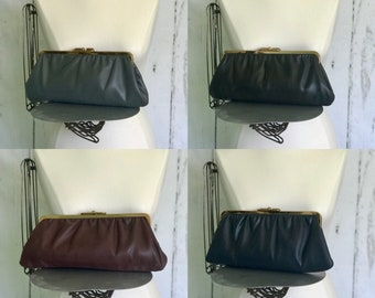Two Vintage Reversible Clutch Handbags, Black/Brown, Burgundy/Navy Blue