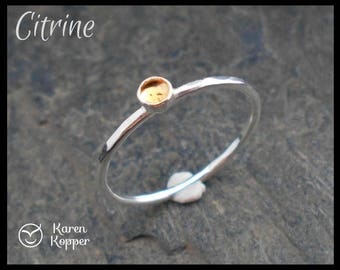 November birthstone ring - 3mm Yellow Citrine Skinny sterling silver ring, hammered, 1.2 mm ring. Skinny ring, thin ring, stacking ring.