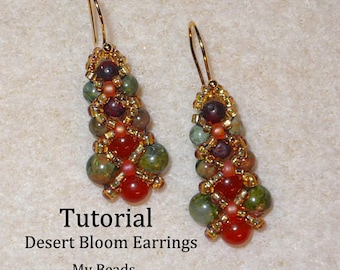 PDF Beading Tutorial, Beaded Earring Tutorial, Seed Bead Tutorial, Beaded Earrings Pattern, Seed Bead Earrings Pattern,How To Bead Earrings