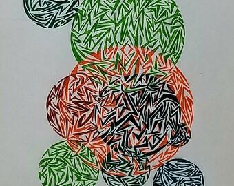 Original Abstract Drawing, Abstract Art,  Geometric Art, Geometric Shapes,