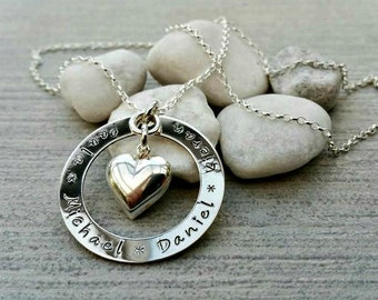 Family name necklace, mother's necklace, heart charm, hand stamped, personalised, children's names necklace, sterling silver