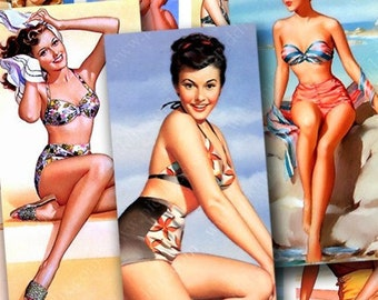 Pin Ups in 1x2 inches for dominos and more -- piddix digital collage sheet 223