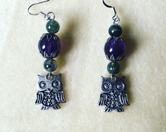 Owl earrings with amethyst and moss agate