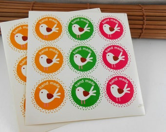 """45 stickers """"hand made"""" bird, yellow, green and pink round"""