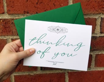 Thinking of You Art Deco Greeting Card with Matching Envelope