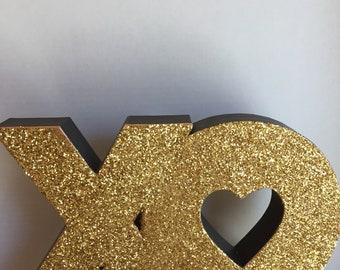Hugs and Kisses, XO Glittered Decor, Glittered Hugs & Kisses