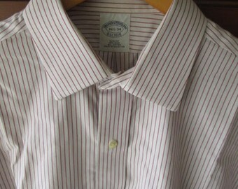 Brooks Brothers Slim Fit Mens Striped Long Sleeve Button Front Cotton Shirt Size 16 1/2-34 Used Made in Malaysia