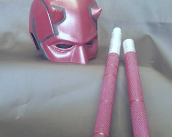 Netflix Daredevil Inspired Wearable Prop Collectable Cosplay Helmet and Billy Clubs Sticks with Details